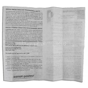 Verorab Rabies Vaccine, Purified Verocell vaccine, rabies (PVRV) 2.5 IU x 1 dose Vial + Syringe  information sheet page 4