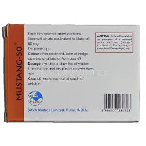 Mustang-50, Sildenafil Citrate 50mg Box Information