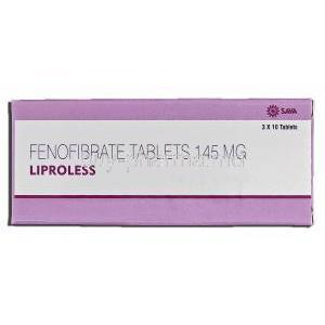 Liproless, Generic Tricor, Fenofibrate, 145 mg, Tablet, Box