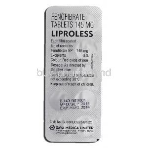 Liproless, Generic Tricor, Fenofibrate, 145 mg, Tablet, Strip