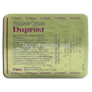 Duprost, Generic Avodart, Dutasteride 0.5 mg, Strip description