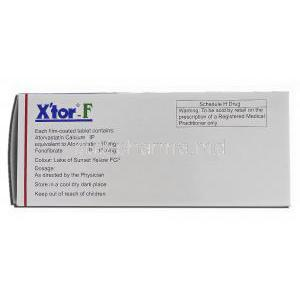 Xtor-F, Atorvastatin, 10 mg, Fenofibrate, 160 mg, Box description