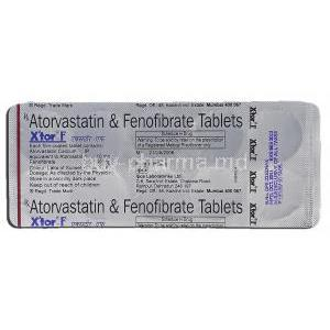 Xtor-F, Atorvastatin, 10 mg, Fenofibrate, 160 mg, Strip description
