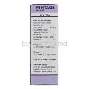 Ventage, Generic Ventolin, Salbutamol Pressurised Inhalation, 200 Metered Doses, Box description
