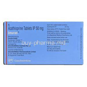 Imuran, Azathioprine, 50mg, Tablet, Box description