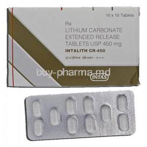 Intalith CR-450, Generic Eskalith, Lithium Carbonate, 450 毫克,  片