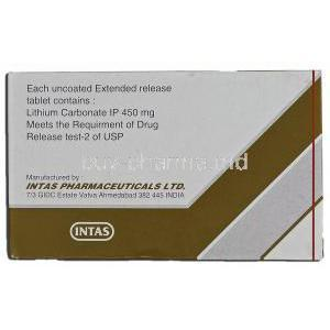Intalith CR-450, Generic Eskalith, Lithium Carbonate, 450 毫克, Box description
