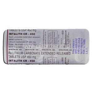 Intalith CR-450, Generic Eskalith, Lithium Carbonate, 450 毫克, Strip description