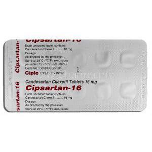 Cipsartan-16, Generic Atacand, Candesartan Cilexetil, 16mg, Strip description