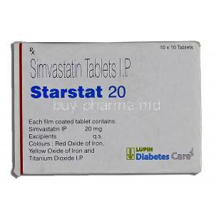 Starstat 20, Generic Zocor, Simvastatin 20mg Box Information