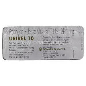 Urirel 10, Generic Uroxatral, Alfuzosin, 10mg, Prolonged-Release, Strip description