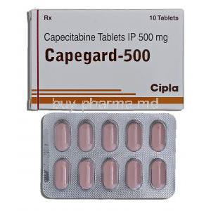 Capegard 500, Capecitabine 500mg Box and Strip