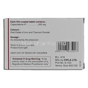 Capegard 500, Capecitabine 500mg Box Description