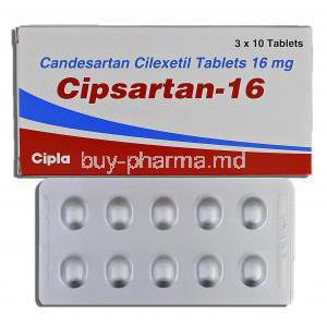 Cipsartan, Candesartan Cilexetil 16mg, Box and Strip