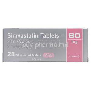 Simvastatin Tablets, Generic  Zocor, Simvastatin 80mg Box
