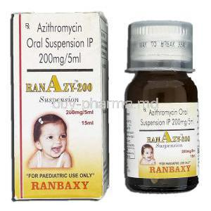 Ranazy 200, Generic Zithromax, Azithromycin Oral 200mg per 5ml Suspension, Suspension