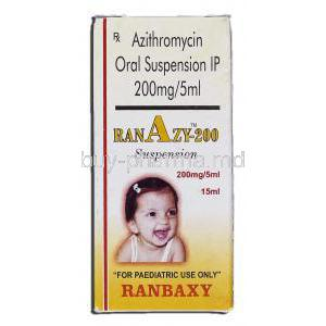 Ranazy 200, Generic Zithromax, Azithromycin Oral 200mg per 5ml Suspension, Box
