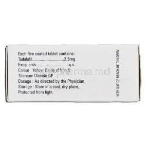 Vidalista-2.5, Tadalafil 2.5mg Box Information