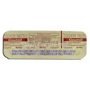 Goutnil, Generic Colcrys, Colchicine 0.5mg, Strip description