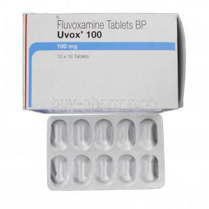Uvox 100, Generic Luvox, Fluvoxamine 100 mg, Box and Strip