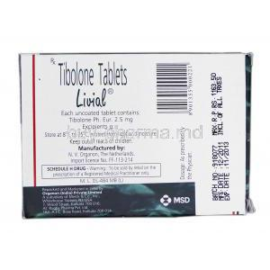 Livial, Branded, Tibolone, 2.5 mg, Box Description