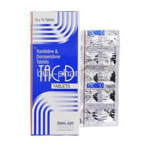 Tac-D, Ranitidine and Domperidone, 150 mg and 10 mg, Box and Strip