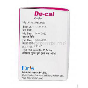 De-cal, Generic Calcimax, Calcium and Vitamin D3,  500 mg and 250 iu, Box Expiry