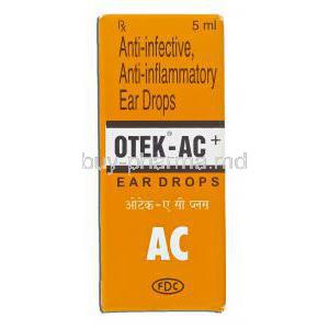 Otek-AC, Chloramphenicol 5%/ Clotrimazole 1%/ Lignocaine Hcl 2% Ear Drops (FDC) Box