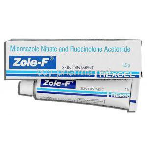 Zole-F, Miconazole Nitrate/ Fluocinolone Acetonide  2%/ 0.01% 15 gm Ointment (Ranbaxy-Rexcel)