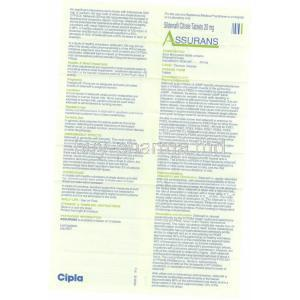 Assurans, Generic Revatio, Sildenafil 20 mg Tablet (Cipla) Patient Information sheet 2
