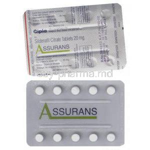 Assurans, Generic Revatio, Sildenafil 20 mg Tablet (Cipla)