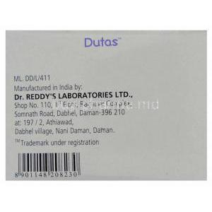 Generic Avodart, Dutasteride 0.5 mg box manufactuer data