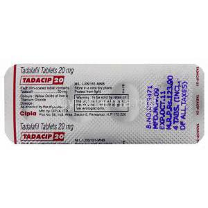 Tadacip, Tadalafil 20mg Tablet Strip Information