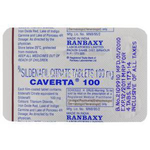 Caverta,  Sildenafil Citrate blister pack behind