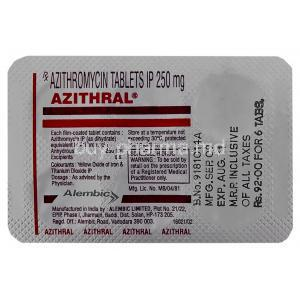 Generic Zithromax, Azithromycin 250 mg tablet blister back