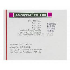Angizem CD 180, Generic Cardizem XL, Diltiazem Hydrochloride 180mg Extended Release Box Sun Pharma Manufacturer