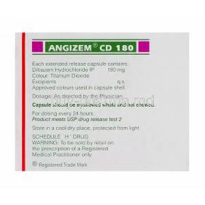 Angizem CD 180, Generic Cardizem XL, Diltiazem Hydrochloride 180mg Extended Release Box Information