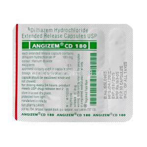 Angizem CD 180, Generic Cardizem XL, Diltiazem Hydrochloride 180mg Extended Release Blister Pack Information