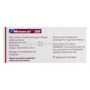 Mesacol OD, Generic Asacol, Mesalamine 1.2g Box Composition
