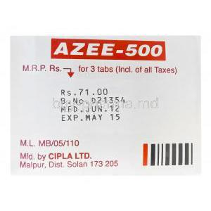 Azee-500, Generic Zithromax, Azithromycin 500mg Box Cipla Manufacturer