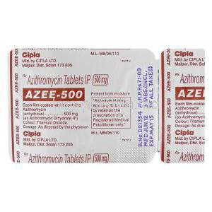 Azee-500, Generic Zithromax, Azithromycin 500mg Blister Pack Information