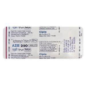 AZEE 250, Generic Zithromax, Azithromycin 250mg Blister Pack Information