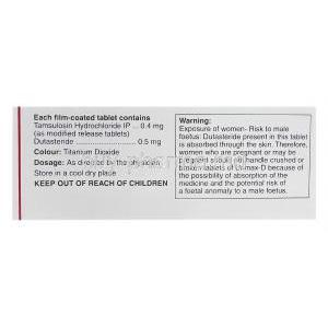 Urimax D, Generic Flomax Plus, Tamsulosin Hydrochloride 0.4mg and Dutasteride 0.5mg Box Information
