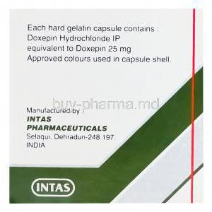 Doxin-25, Generic Sinequan, Doxepin 25mg Box Composition and Intas Manufacturer