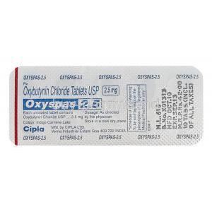 Oxyspas 2.5, Generic Ditropan, Oxybutynin Chloride 2.5mg Blister Pack Information