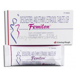 Femilon, Generic Dianette, 0.15 Mg,  Ethinyl Estradiol/ Desogestrel  0.02 Mg Tablets (Schering-Plough) Box