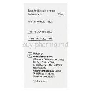 Derinide Respules, Generic Pulmicort, Budesonide 0.5mg 2ml Box Manufacturer