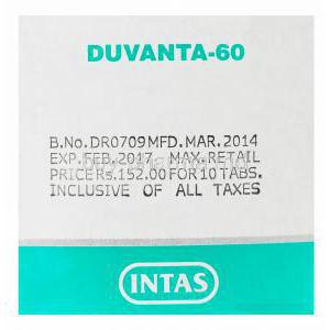 Duvanta, Generic Cymbalta, Duloxetine 60mg Box Batch