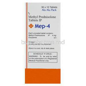 Mep-4, Generic Medrol, Methyl Prednisolone 4mg Box Composition