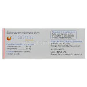 Crisanta, Generic Yasmin, Drospirenone 3mg and Ethinylestradiol 0.03mg Box Information